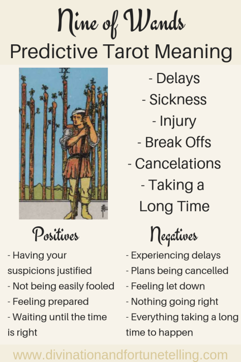 Illustration: In a Tarot card reading, The Nine of Wands in a spread can be a symbol of delays and setbacks. This post includes vintage and modern fortune telling meanings of the 9 of Wands, ideal for the advanced reader or those just learning the cards. These interpretations can be used with any of the decks (Rider Waite, Marseilles etc.)
