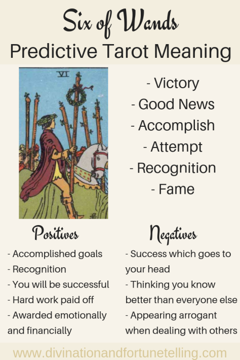 Illustration: In a Tarot card reading, The Six of Wands in a spread can be a symbol of winning and recognition. This post includes vintage and modern fortune telling meanings of the 6 of Wands, ideal for the advanced reader or those just learning the cards. These interpretations can be used with any of the decks (Rider Waite, Marseilles etc.)