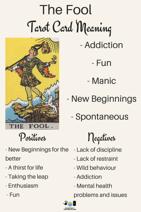 The Fool Tarot card meaning. An illustration from the Major Arcana with the Rider Waite Tarot deck. Post by divination and fortune-telling with Tarot for love, romance and relationships. Ideal for readers who are just learning the interpretations.