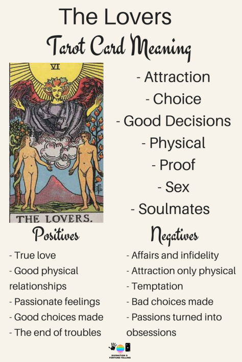 The Lovers Tarot card meaning. An illustration from the Major Arcana with the Rider Waite Tarot deck. Post by divination and fortune-telling with Tarot for love, romance and relationships. Ideal for readers who are just learning the interpretations.